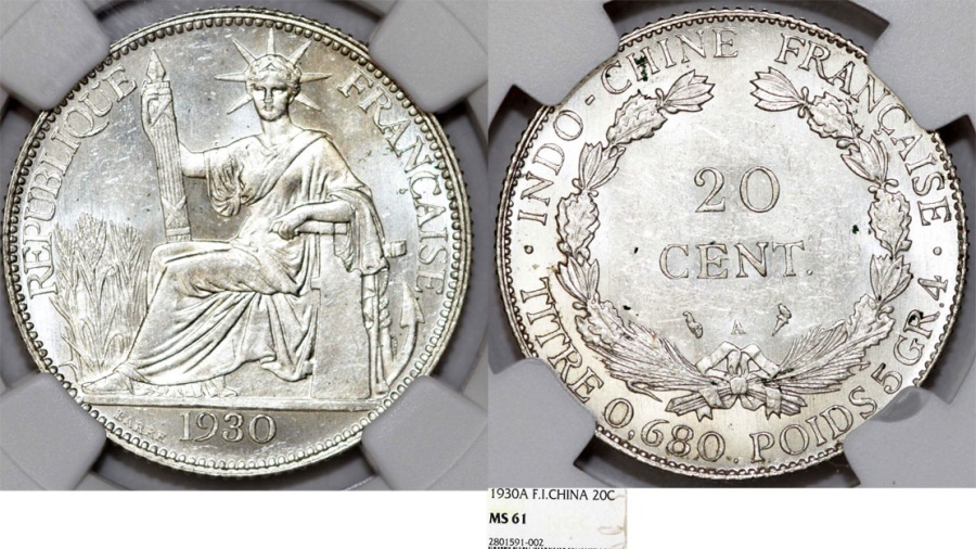 World Coins - French Indo-China. Colonial Issue. Silver 20 Cents 1930. NGC MS61