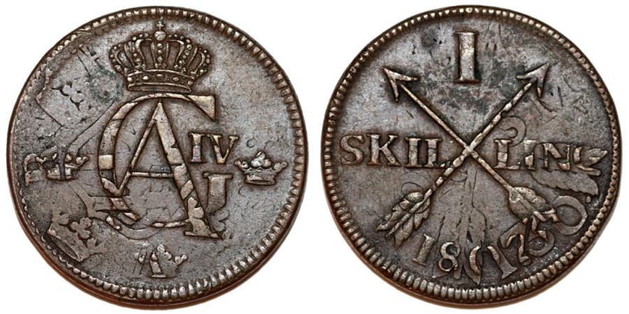 World Coins - Sweden. Gustaf IV Adolf. RARE TYPE CU 1 Skilling 1802 struck on 1760 2 Ore. Choice XF/AU