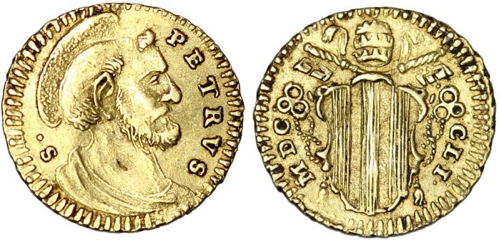 World Coins - Italy. Papal States. Pope Benedict (1740-58). Gold 1/2 Scudo Romano 1751 RN. Nice VF+. RARE.