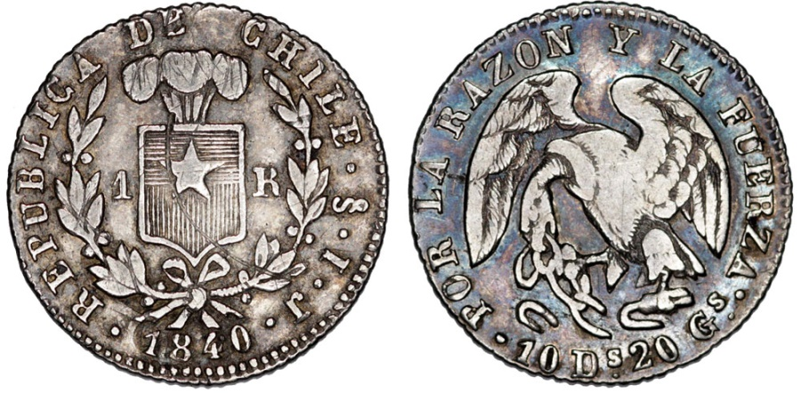 World Coins - Chile. Republic 1818-present. Santiago. AR 1Real 1840. Choice VF, toned