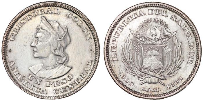 World Coins - Republic of El Salvador. Silver Peso 1893 CAM. AU