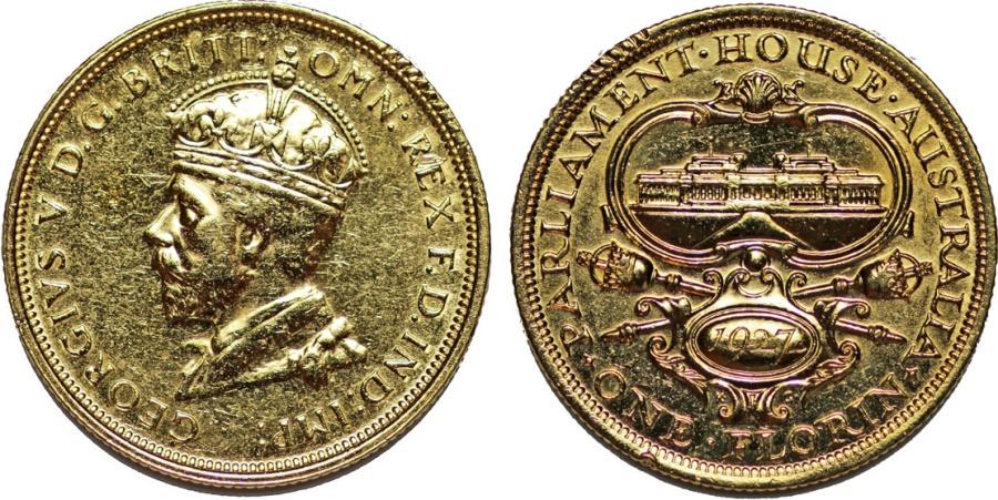 World Coins - British Commonwealth Australia. Silver Florin 1927. Choice AU, gold plated