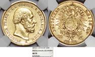 World Coins - German States. Mecklenburg-Schwerin. Friedrich Franz II. RARE Gold 20 Mark 1872-A. NGC AU55!