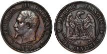 World Coins - France. Napoleon III. AE 10 Centimes 1854 MV. VF