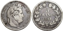 World Coins - France. king Louis Philippe (1830-1848). Silver 5 Francs 1833 A. aVF, toned.