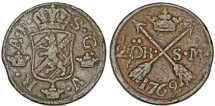 World Coins - Sweden. King Adolf Frederic (1751-1771) Copper 2 Ore 1762. VF