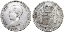 World Coins - Spain. Alfonso XII. Silver 5 France 1891 M. Fine+
