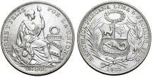 World Coins - Peru. Republic. AR 1 Sol 1935 AP. UNC