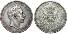 World Coins - Germany Empire. Prussia. Wilhelm II (1888-1918). Silver 5 Mark 1903 A. Toned Choice XF