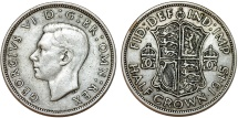 World Coins - Great Britain. king George VI. AR Half Crown 1945. Toned Choice XF
