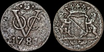 World Coins - Netherlands East Indies. Dutch Indies Company . Cu Duit 1791. Fine