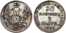 World Coins - Imperial Russia. Coinage for Poland. AR 2 Zloty - 30 Kopecks 1835 MW. About VF