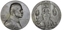 World Coins - Poland, (partitioned till 1918). AE 50mm Medal 1914 issued to honor Marshal Pilsudski as chief of Legions. AU, RARE
