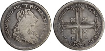 Italian States:  SICILY. Carlo III (1734-1759).  Silver 6 Tarí (½ Piastra), 1735 F-N. Palermo. Fine+, toned