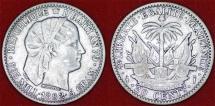 World Coins - Haiti. AR 20 Centimes 1882. XF