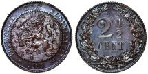 World Coins - Netherlands. Wilhelmina II. Cu 2 1/2 Cent 1904. UNC