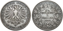"World Coins - Germany. City of Frankfurt. AR Double (2) Taler ""Vereinstaler"" 1843. Choice XF"