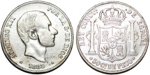 World Coins - Phillippines as Spanish Colony. Alfonso XII. AR 50 Centavo 1883. Nice VF
