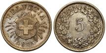 World Coins - Switzerland. Federation Issue. Bi 5 Rappen 1873. Choice XF