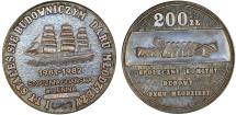 "World Coins - Poland. PRL. Bronze  60m (Thick ) Copper Medal Struck in 1981 as Thank You to contributions toward build up of a new Sail Ship Famous."" Dar Mlodziezy"". UNC with box"