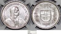 World Coins - Switzerland. Federation. AR 5 Francs 1931. NGC AU58