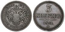 World Coins - Austria. Franz Joseph I. CU 3 Kreuzer 1851B. VF+