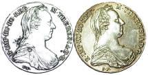 World Coins - Austria. Lot of 2 Silver Coins. M. Theresa Thalers ( 1780 Restrikes). AU