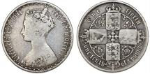 """World Coins - Great Britain. Victoria. AR """"GOTHIC"""" 1 Florin 1862. Toned About  VF"""