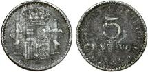 Puerto Rico. Alfonso XIII. AR 5 Centavos 1896. Fine+, unclean