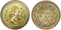World Coins - Germany. King Ludwig of Bavaria. Game Token (Spiel-Marke) ca.1880. Nice AU