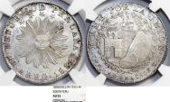 World Coins - PERU. Republic of South Peru. AR 4 Reales 1838 MS. NGC AU55, choice coin.