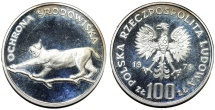 World Coins - Poland, P.R.L. 1952-1989, Silver 100 złotych 1979, Environmental / Lynx /. Proof