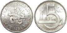 World Coins - Czechoslovakia. Republic. Silver 5 Korun 1929. Choice AU