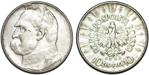 World Coins - Poland. II Republic (1918-1939). AR 10 Zloty 1936. Choice XF
