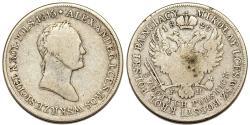 World Coins - Imperial Russia. Congress Kingdom of Poland. AR 5 Zlote 1829 FH. Fine. RARE