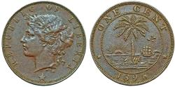 World Coins - Liberia. Republic. AE 1 Cent 1896. Choice XF/AU