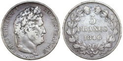 World Coins - France. Louis Philippe I. Silver 5 France 1846 A. About VF