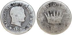 World Coins - Imperial France. Italian Kingdom of Napoleon Bonaparte (1804-1814). AR 10 Soldi 1808 M. VG