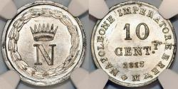 World Coins - Italian Kingdom of Napoleon Bonaparte. Milan. (1804-1814). 10 Centesimo 1813 M. NGC MS63!