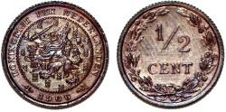 World Coins - Netherlands. Wilhelmina II. Cu 1/2 Cent 1906. UNC