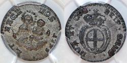 World Coins - Italy. Republic of Genoa. Silver 8 Denari 1793. PCGS AU53, toned!