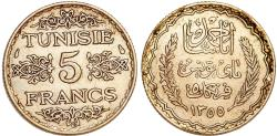 World Coins - Tunisia. Ahmad Pasha Bey. Very Nice Silver 5 Francs AH1253 (AD1934). Choice AU
