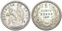 World Coins - Chile. Republic. Silver 5 Pesos 1927. Choice XF