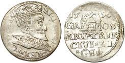 World Coins - Poland. (Livonia) Riga. Sigismund III (1587-1632). Silver 3 Gross - Trojak 1596. VF+