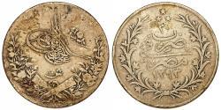 World Coins - Egypt. Abdul Hamid II, 1876-1909. AR 10 Qirsh (AH1293/30) (1905). VF