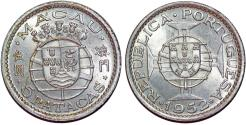 World Coins - Macau as Portuguese Colony. Silver 5 Pacatas 1952. Choice UNC