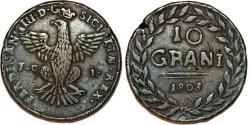 World Coins - ITALY, Sicilia (Regno). Ferdinando III (Ferdinando IV di Napoli). 1759-1816. CU 10 Grani 1803. Choice VF