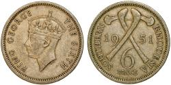 World Coins - Southern Rhodesia as British Colony. King George VI. CuNi 6 Pence 1951. Choice VF