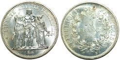 World Coins - France. Republic. AR 10 Francs 1965. BU