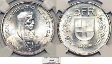 World Coins - Switzerland. Federation. AR 5 Francs 1937. NGC MS64